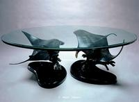 """Manta Ballet"" Double Manta Ray Bronze Sculpture Table - Manta Ray Sculpture coffee Table - ""Manta Ballet"" - Double Manta Ray Bronze Sculpture Table by Scott Hanson -"
