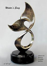 """Winters Song""Bronze and Stainless Sculpture by Scott Hanson - Marine Wildlife Sculpture - Bronze and Stainless Ocean themed Sculpture by Scott Hanson -"