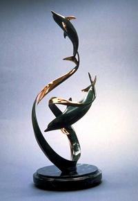 """ Up & Away"" - BronzeBronze and Stainless Sculpture by Scott Hanson - Marine Wildlife Sculpture - Bronze and Stainless Ocean themed Sculpture by Scott Hanson -"