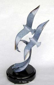 """Wind Surfing""Bronze and Stainless Sculpture by Scott Hanson - Marine Wildlife Sculpture - Bronze and Stainless Ocean themed Sculpture by Scott Hanson -"