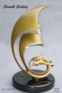 """Smooth Sailing""Bronze and Stainless Sculpture by Scott Hanson - Marine Wildlife Sculpture - Bronze and Stainless Ocean themed Sculpture by Scott Hanson -"