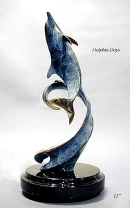 """Dolphin Days""Bronze and Stainless Sculpture by Scott Hanson - Marine Wildlife Sculpture - Bronze and Stainless Ocean themed Sculpture by Scott Hanson -"