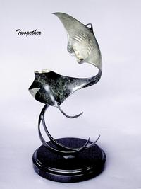 """Twogether""Bronze and Stainless Sculpture by Scott Hanson - Marine Wildlife Sculpture - Bronze and Stainless Ocean themed Sculpture by Scott Hanson -"