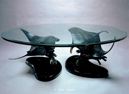 Bronze sculpture coffee tables Coffee tables featuring Scott Hanson's bronze and stainless steel sculptures - Bronze Sculpture Tables by Scott Hanson