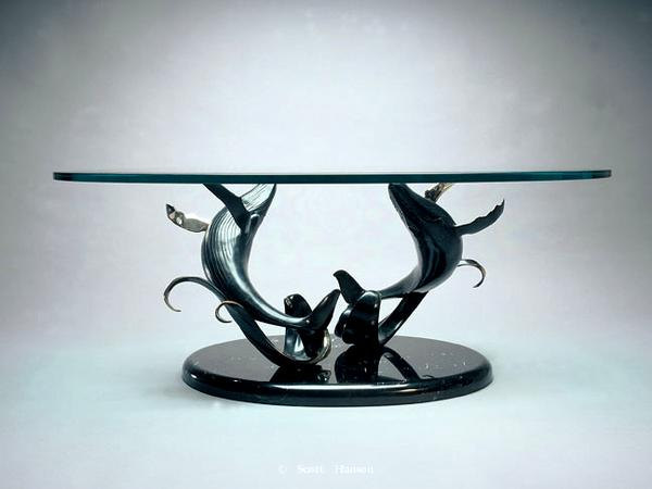 """Making Waves""Making Waves Bronze Table Sculpture -Bronze sculpture coffee tables Coffee tables featuring Scott Hanson's bronze and stainless steel sculptures - Bronze Sculpture Tables by Scott Hanson"