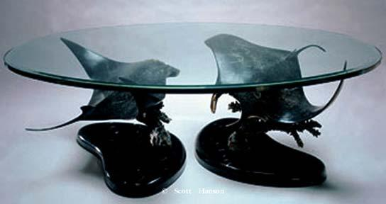 "Manta Ray Sculpture coffee Table ""Manta Ballet"" - Double Manta Ray Bronze Sculpture Table by Scott Hanson - ""Manta Ballet"" Double Manta Ray Bronze Sculpture Table"