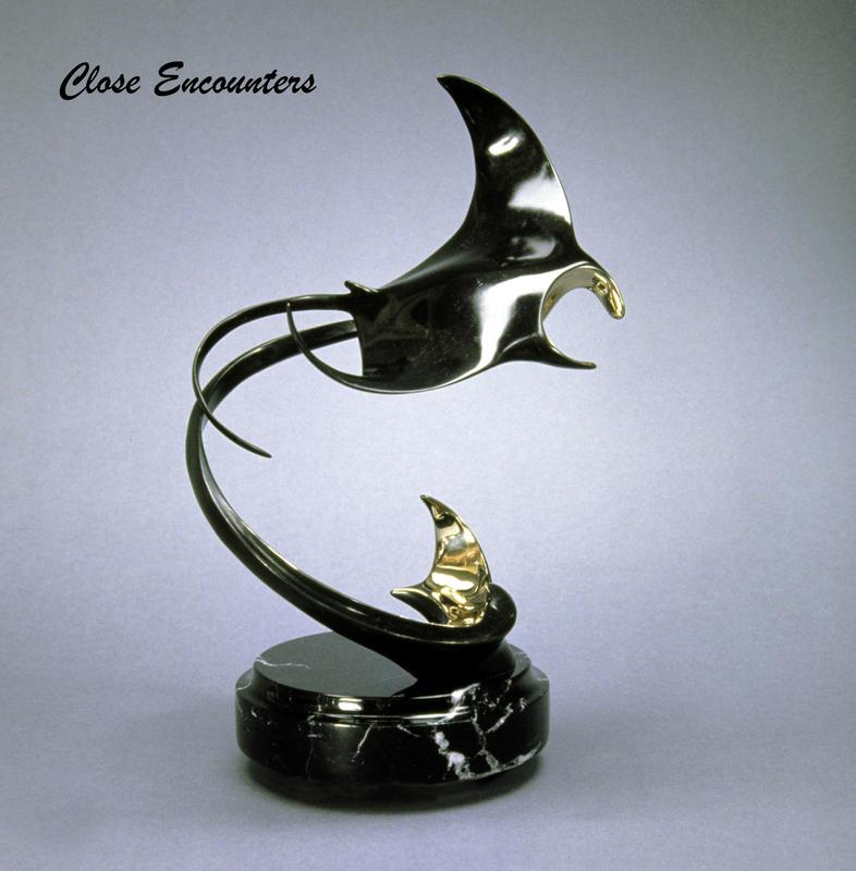 """Close Encounters"" - Bronze Sculpture 11"" x 8"" -Marine Wildlife Sculpture Bronze and Stainless Ocean themed Sculpture by Scott Hanson - Bronze and Stainless Sculpture by Scott Hanson"